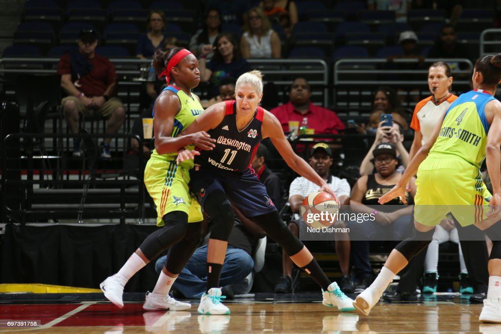 Elena Delle Donne #11 of the Washington Mystics handles the ball during a game against the Dallas Wings on June 18, 2017 at the Verizon Center in Washington, DC.