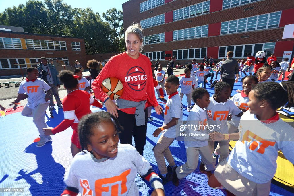 Elena Delle Donne of the Washington Mystics participates in a clinic at Hendley Elementary school during a court dedication and WNBA Fit Clinic on October 17, 2017 at Hendley Elementary school in Washington, DC.