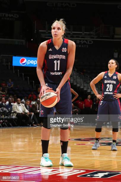 Elena Delle Donne of the Washington Mystics shoots a free throw during the game against the Atlanta Dream on June 4 2017 at Verizon Center in...