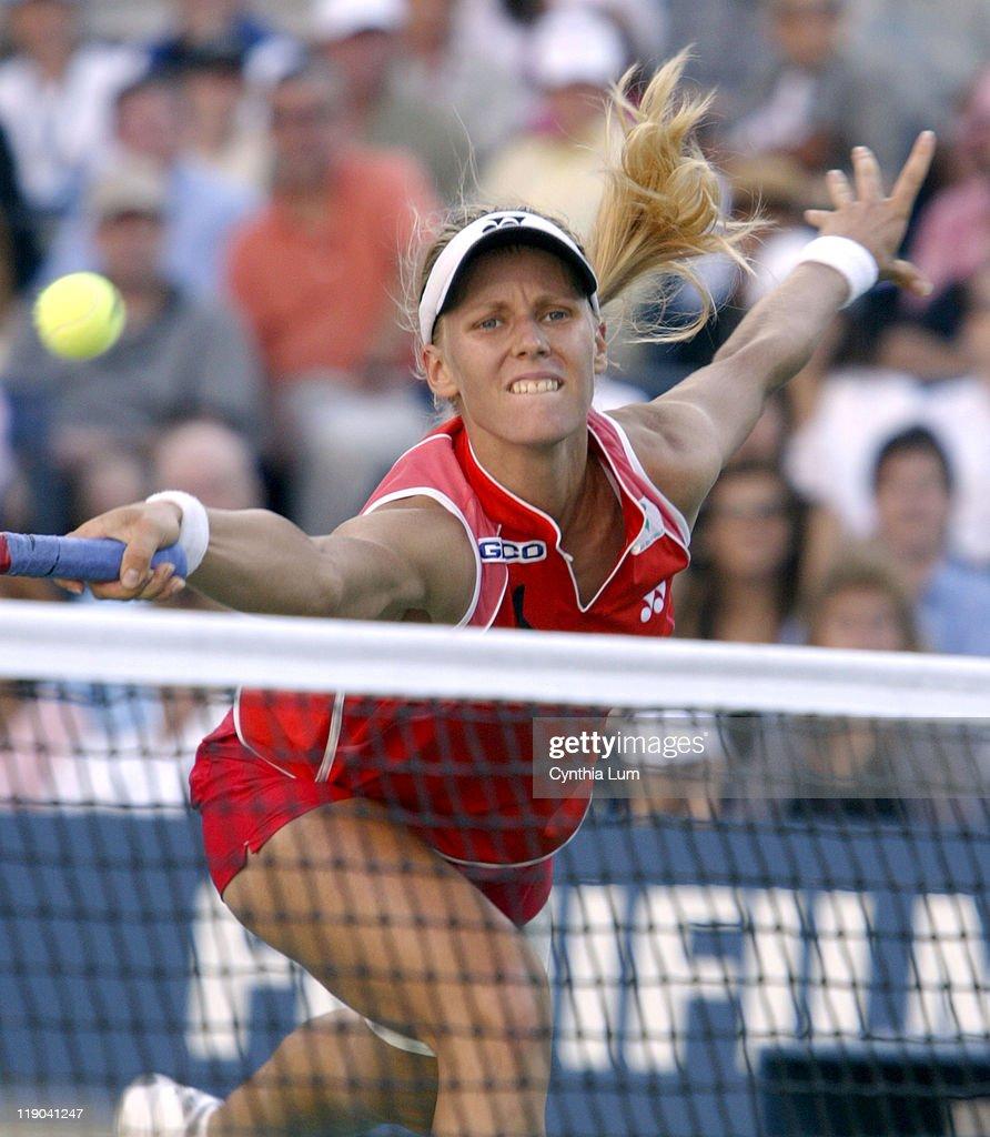 Elena Dementieva during her semifinal match against Jenifer Capriotti at the 2004 US Open in New York on September 10, 2004. Dementieva won 6-0,2-6,7-6(7-5).