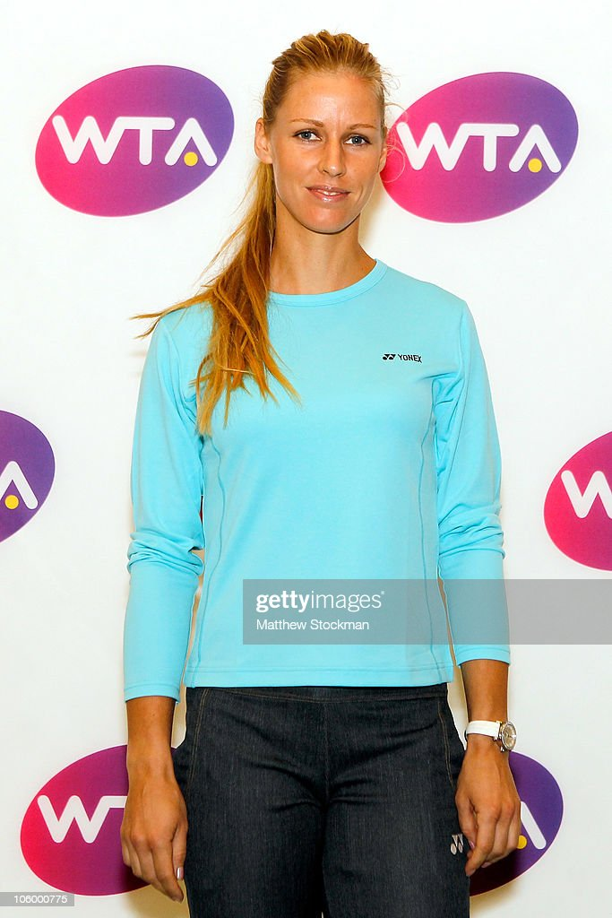 Elena Dementieva of Russia attends a press conference at the Ritz Carlton hotel ahead of the WTA Championships on October 25, 2010 in Doha, Qatar.