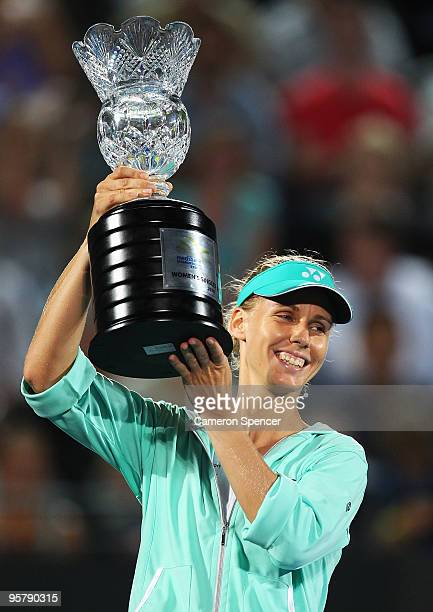 Elena Dementieva of Russia holds the trophy aloft after winning the women's final match against Serena Williams of the USA during day six of the 2010...