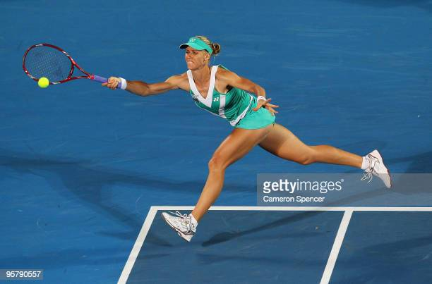 Elena Dementieva of Russia plays a forehand in her women's final match against Serena Williams of the USA during day six of the 2010 Mediabank...