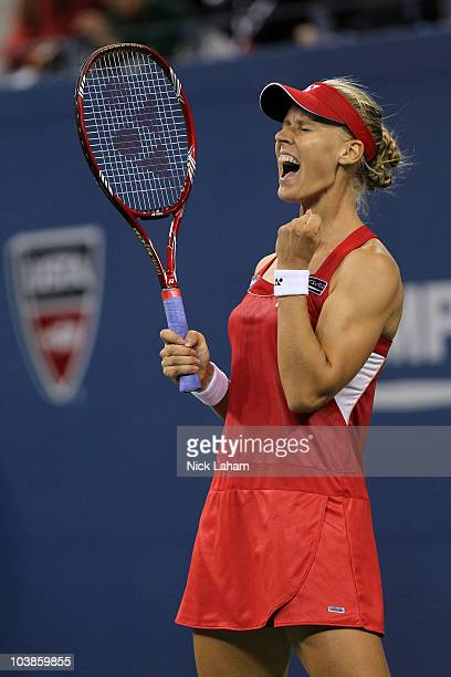 Elena Dementieva of Russia reacts against Samantha Stosur of Australia during her women's singles match on day seven of the 2010 US Open at the USTA...