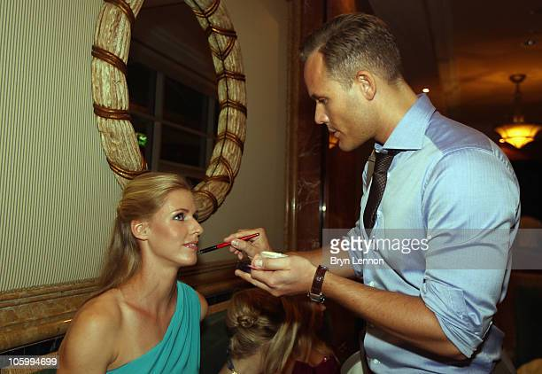 Elena Dementieva of Russia receives some makeup prior to the Opening Ceremony of the Doha WTA Championships on October 24 2010 in Doha Qatar