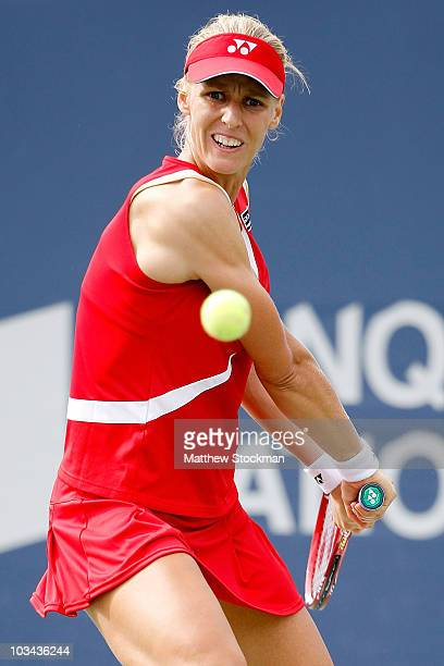 Elena Dementieva of Russia returns a shot to Klara Zakopalova of the Czech Republic during the Rogers Cup at Stade Uniprix on August 18 2010 in...