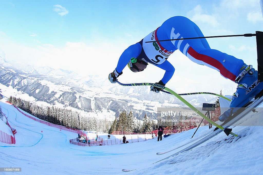 Elena Fanchini of Italy leaves the start gate to ski in the Downhill section of the Women's Super Combined during the Alpine FIS Ski World Championships on February 8, 2013 in Schladming, Austria.