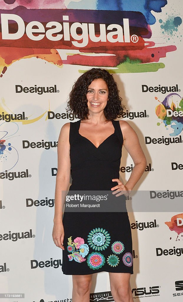 Elena Gadel poses during a photocall for Desigual's Spring-Summer 2014 Collection 'For Everybody: Sex, Fun & Love' during 080 Barcelona Fashion Week on July 9, 2013 in Barcelona, Spain.