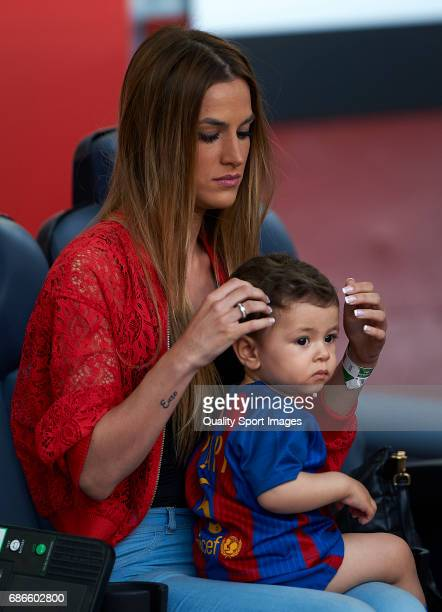 Elena Galera wife of Sergio Busquets of Barcelona with her children prior the La Liga match between FC Barcelona and SD Eibar at Camp Nou Stadium on...