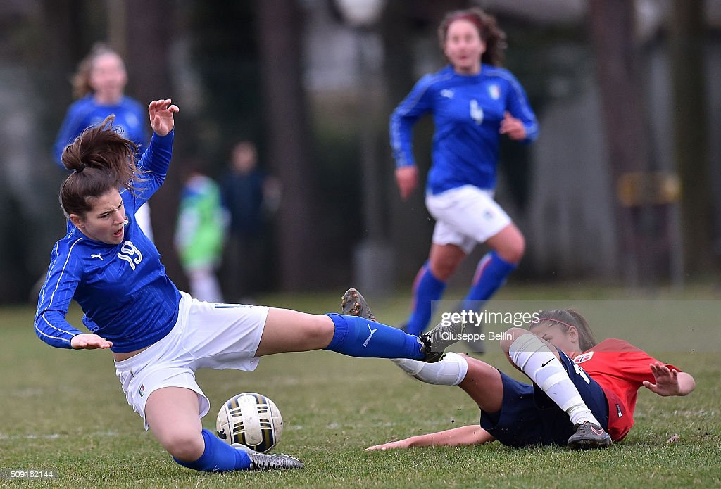 Elena Genovese of Italy and Silje Bjornebo of Norway in action during the Women's U17 international friendly match between Italy and Norway on February 9, 2016 in Cervia, Italy.