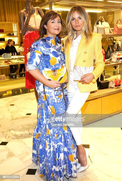 Elena Ghisellini and Erica Pelosini attend Saks Fifth Avenue celebration of Elena Ghisellini's launch at Saks Fifth Avenue Beverly Hills on March 31...