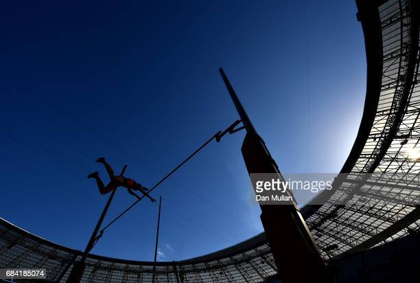 Elena Gladkova of Azerbaijan competes in the Womens Pole Vault during day six of Baku 2017 4th Islamic Solidarity Games at the Baku Olympic Stadium...