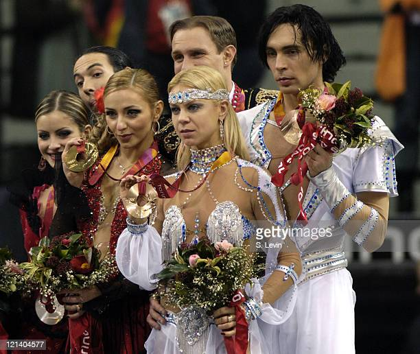 Elena Gruhina and Olivier Schoenfelder of the Ukraine during the Ice Dancing Free Skate Program at the 2006 Olympic Games at the Palavela in Torino...