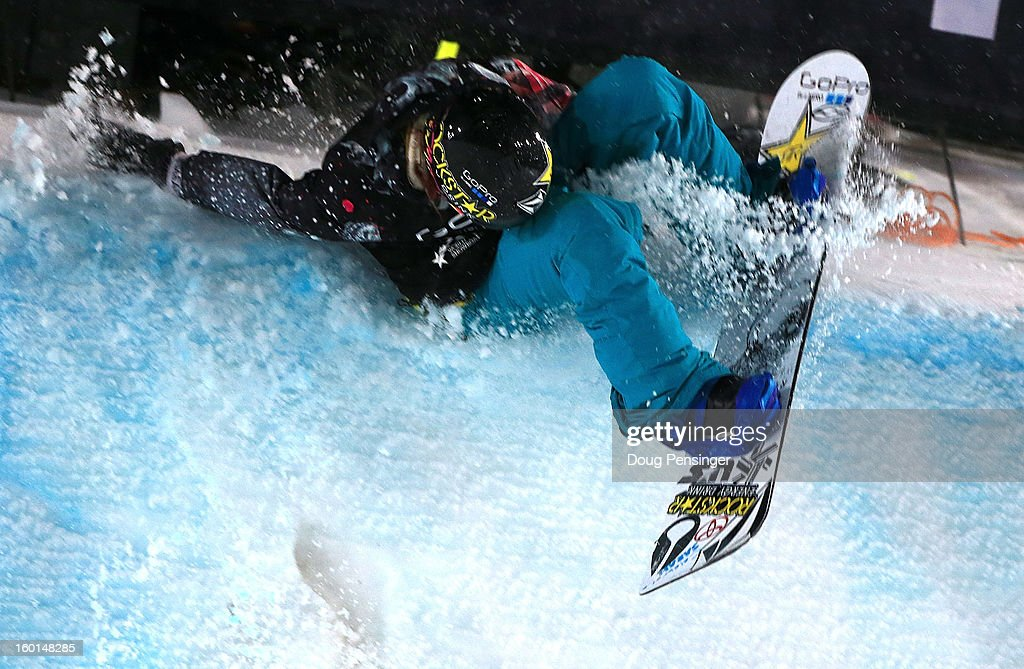 Elena Hight cases the deck as she performs a backside double alley-oop rodeo on her final run as she took second place in the Women's Snowboard Superpipe Final during Winter X Games Aspen 2013 at Buttermilk Mountain on January 26, 2013 in Aspen, Colorado.