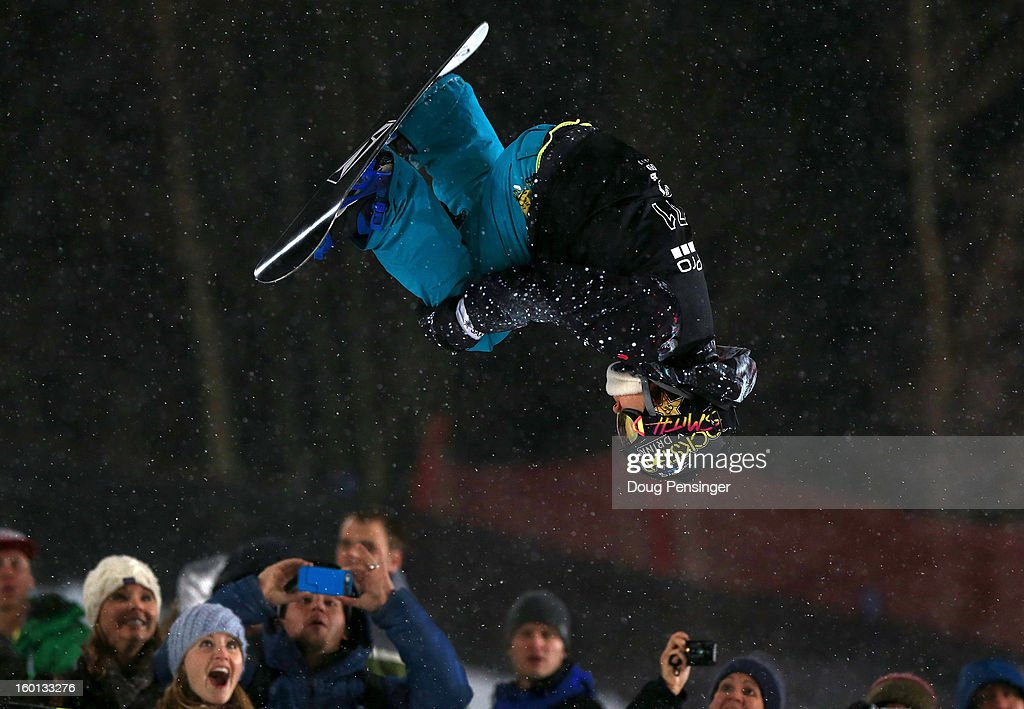 Elena Hight perform a backside double alley-oop rodeo over the fans on the deck of the halfpipe as she took second place in the Women's Snowboard Superpipe Final during Winter X Games Aspen 2013 at Buttermilk Mountain on January 26, 2013 in Aspen, Colorado.
