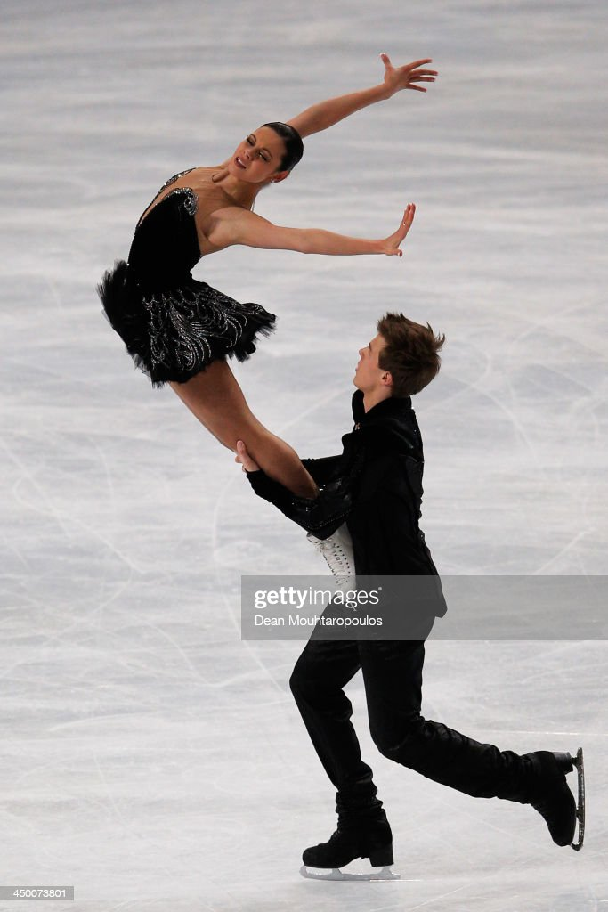 Elena Ilinykh and Nikita Katsalapov of Russia perform in the Ice Dance Free Dance during day two of Trophee Eric Bompard ISU Grand Prix of Figure Skating 2013/2014 at the Palais Omnisports de Bercy on November 16, 2013 in Paris, France.