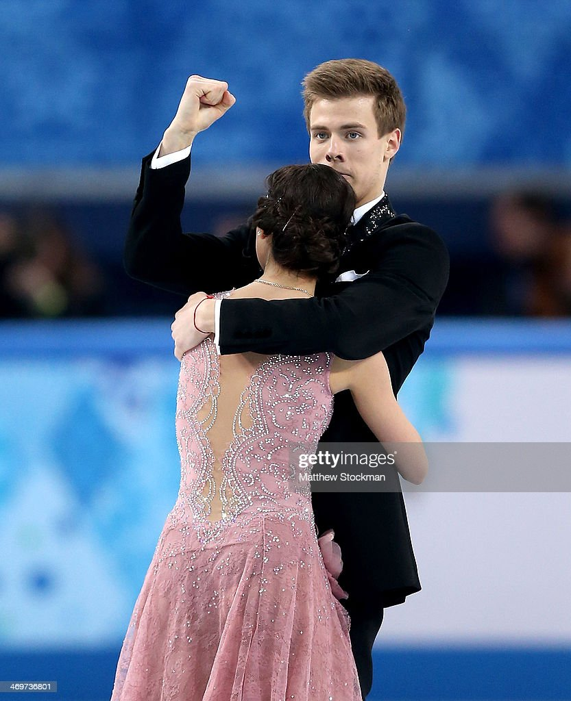 <a gi-track='captionPersonalityLinkClicked' href=/galleries/search?phrase=Elena+Ilinykh&family=editorial&specificpeople=7281567 ng-click='$event.stopPropagation()'>Elena Ilinykh</a> and Nikita Katsalapov of Russia reacts after competing during the Figure Skating Ice Dance Short Dance on day 9 of the Sochi 2014 Winter Olympics at Iceberg Skating Palace on February 16, 2014 in Sochi, Russia.
