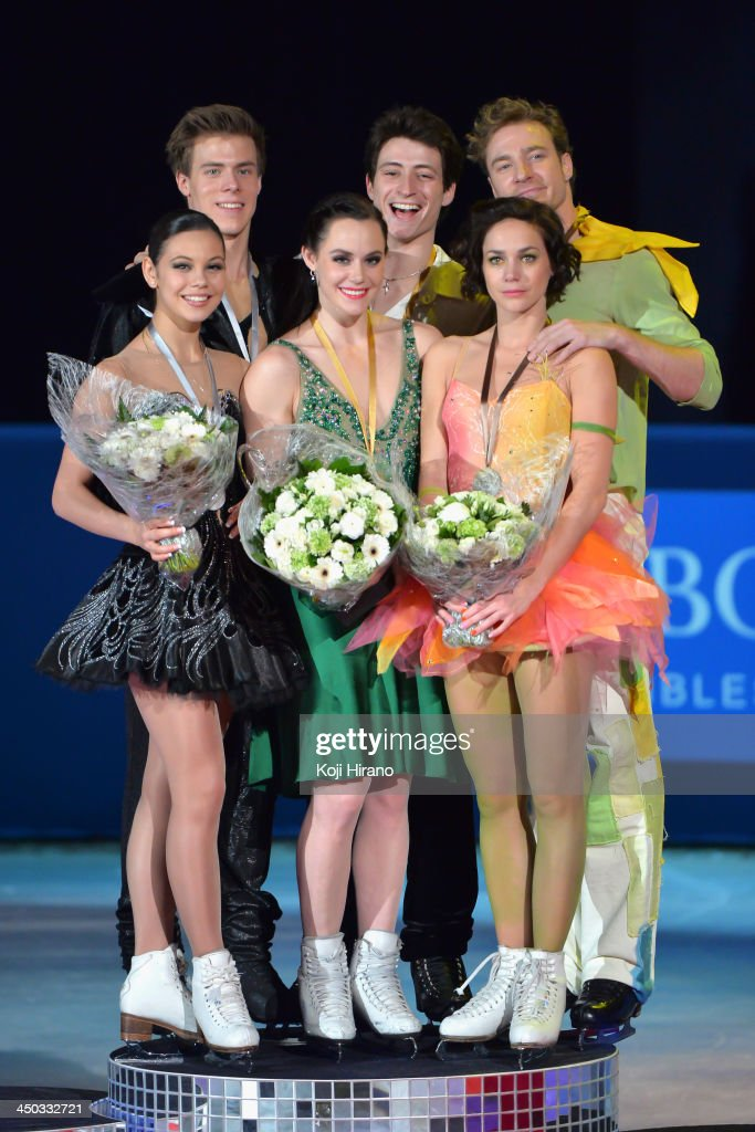 Elena Ilinykh and Nikita Katsalapov of Russia (silver medal), <a gi-track='captionPersonalityLinkClicked' href=/galleries/search?phrase=Tessa+Virtue&family=editorial&specificpeople=793314 ng-click='$event.stopPropagation()'>Tessa Virtue</a> and <a gi-track='captionPersonalityLinkClicked' href=/galleries/search?phrase=Scott+Moir&family=editorial&specificpeople=793313 ng-click='$event.stopPropagation()'>Scott Moir</a> of Canada (gold medal) and <a gi-track='captionPersonalityLinkClicked' href=/galleries/search?phrase=Nathalie+Pechalat&family=editorial&specificpeople=722336 ng-click='$event.stopPropagation()'>Nathalie Pechalat</a> and <a gi-track='captionPersonalityLinkClicked' href=/galleries/search?phrase=Fabian+Bourzat&family=editorial&specificpeople=722335 ng-click='$event.stopPropagation()'>Fabian Bourzat</a> of France (bronze medal) pose after their free dance event during day two of Trophee Eric Bompard ISU Grand Prix of Figure Skating 2013/2014 at the Palais Omnisports de Bercy on November 16, 2013 in Paris, France.