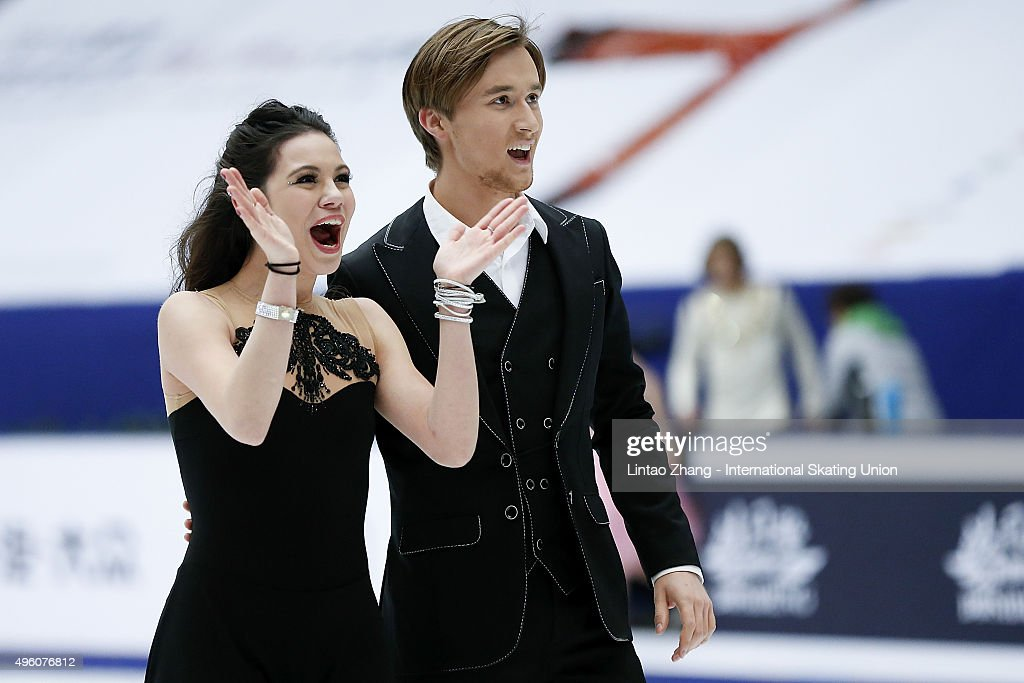 <a gi-track='captionPersonalityLinkClicked' href=/galleries/search?phrase=Elena+Ilinykh&family=editorial&specificpeople=7281567 ng-click='$event.stopPropagation()'>Elena Ilinykh</a> and Ruslan Zhiganshin of Russia reacts after the perform Ice Dancing short Dance on day one of Audi Cup of China ISU Grand Prix of Figure Skating 2015 at Beijing Capital Gymnasium on November 6, 2015 in Beijing, China.