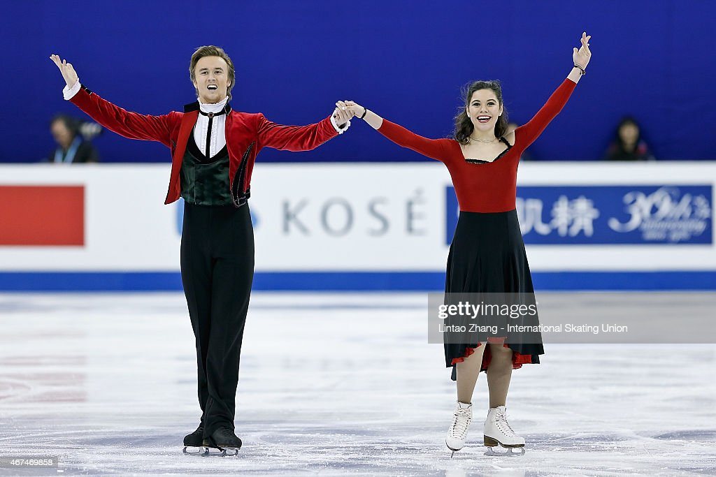 <a gi-track='captionPersonalityLinkClicked' href=/galleries/search?phrase=Elena+Ilinykh&family=editorial&specificpeople=7281567 ng-click='$event.stopPropagation()'>Elena Ilinykh</a> and Ruslan Ziganshin of Russia react after competing in the Ice Dance Short Dance on day one of the 2015 ISU World Figure Skating Championships at Shanghai Oriental Sports Center on March 25, 2015 in Shanghai, China.