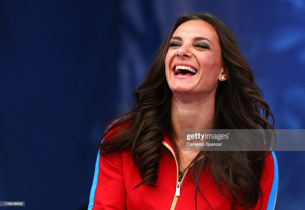 <a gi-track='captionPersonalityLinkClicked' href=/galleries/search?phrase=Elena+Isinbaeva&family=editorial&specificpeople=3230101 ng-click='$event.stopPropagation()'>Elena Isinbaeva</a> of Russia attends the IAAF Ambassador Programme Press Conference during Day Six of the 14th IAAF World Athletics Championships Moscow 2013 at Luzhniki Stadium on August 15, 2013 in Moscow, Russia.