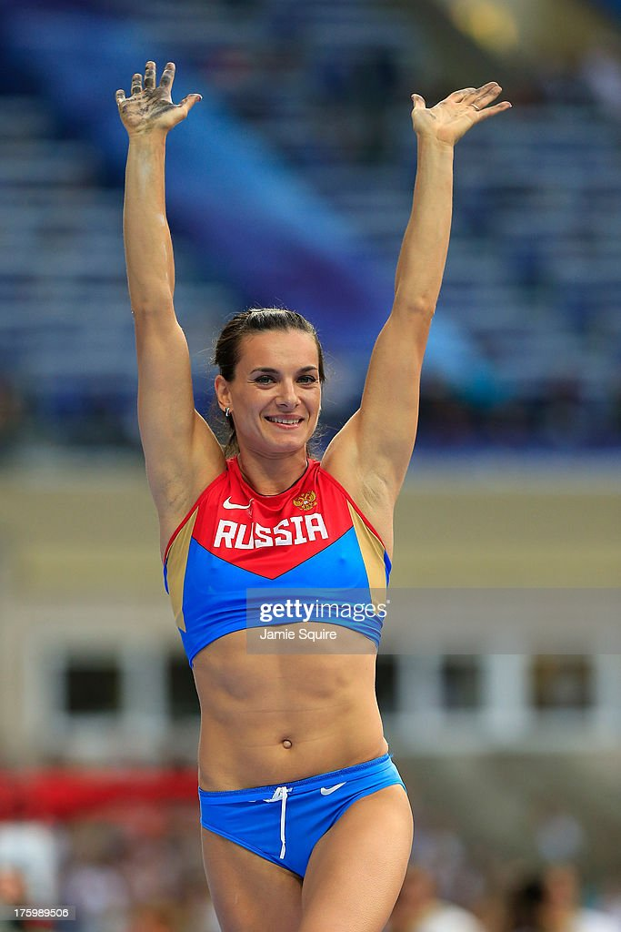 <a gi-track='captionPersonalityLinkClicked' href=/galleries/search?phrase=Elena+Isinbaeva&family=editorial&specificpeople=3230101 ng-click='$event.stopPropagation()'>Elena Isinbaeva</a> of Russia celebrates a jump in the Women's Pole Vault qualification during Day Two of the 14th IAAF World Athletics Championships Moscow 2013 at Luzhniki Stadium on August 11, 2013 in Moscow, Russia.