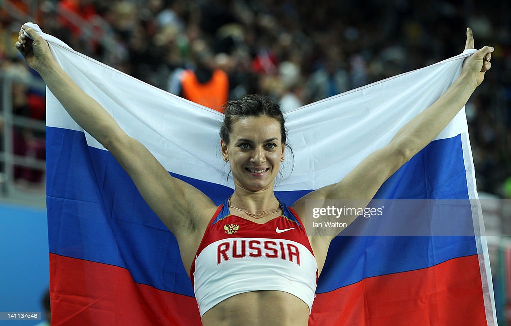 <a gi-track='captionPersonalityLinkClicked' href=/galleries/search?phrase=Elena+Isinbaeva&family=editorial&specificpeople=3230101 ng-click='$event.stopPropagation()'>Elena Isinbaeva</a> of Russia celebrates as she wins gold in the Women's Pole Vault Final during day three of the 14th IAAF World Indoor Championships at the Atakoy Athletics Arena on March 11, 2012 in Istanbul, Turkey.