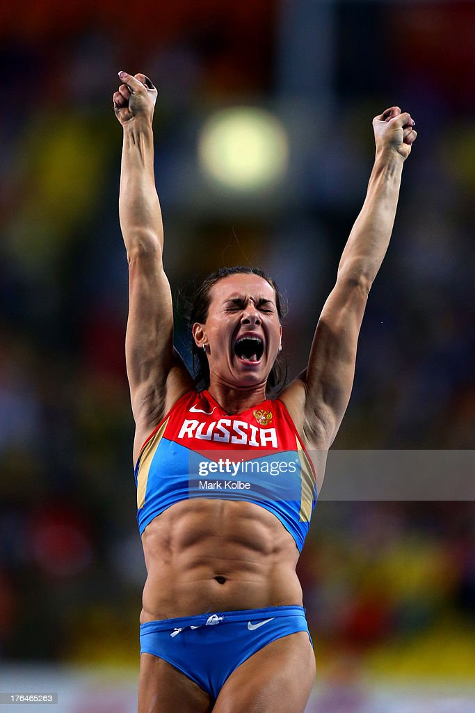 Elena Isinbaeva of Russia celebrates winning gold in the Women's pole vault final during Day Four of the 14th IAAF World Athletics Championships Moscow 2013 at Luzhniki Stadium on August 13, 2013 in Moscow, Russia.