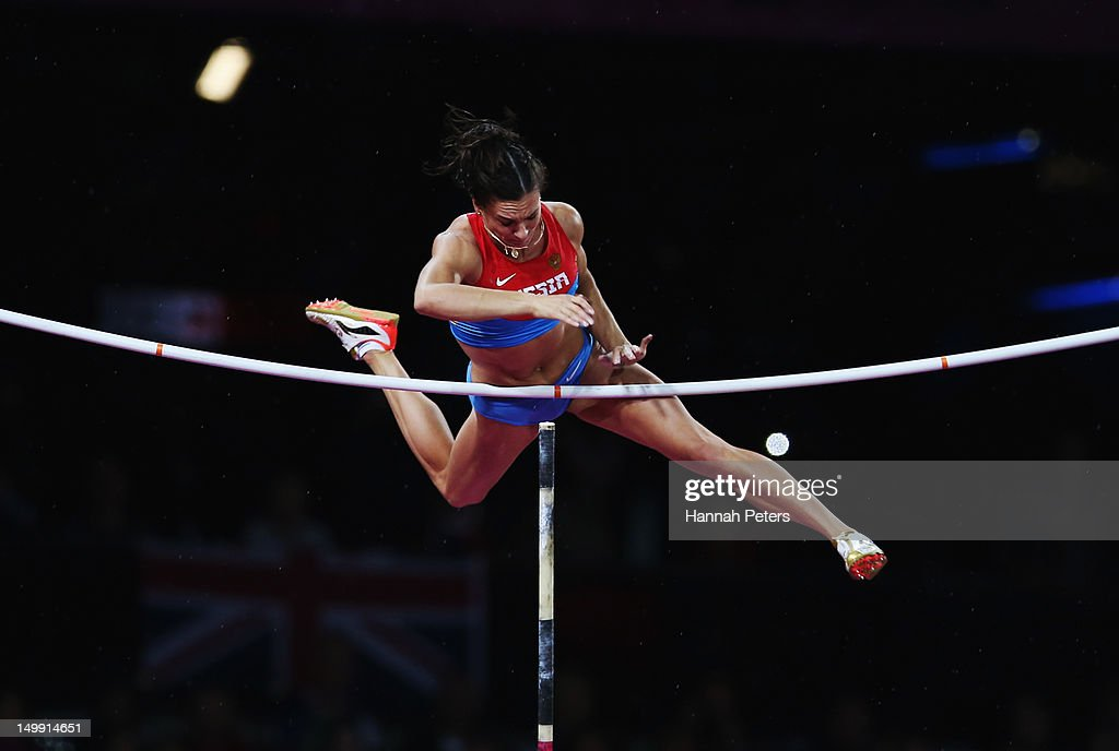 <a gi-track='captionPersonalityLinkClicked' href=/galleries/search?phrase=Elena+Isinbaeva&family=editorial&specificpeople=3230101 ng-click='$event.stopPropagation()'>Elena Isinbaeva</a> of Russia competes in the Women's Pole Vault final on Day 10 of the London 2012 Olympic Games at the Olympic Stadium on August 6, 2012 in London, England.
