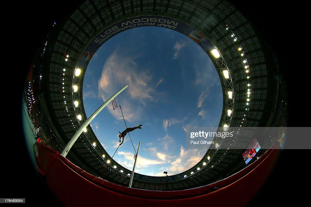 <a gi-track='captionPersonalityLinkClicked' href=/galleries/search?phrase=Elena+Isinbaeva&family=editorial&specificpeople=3230101 ng-click='$event.stopPropagation()'>Elena Isinbaeva</a> of Russia competes in the Women's pole vault final during Day Four of the 14th IAAF World Athletics Championships Moscow 2013 at Luzhniki Stadium on August 13, 2013 in Moscow, Russia.