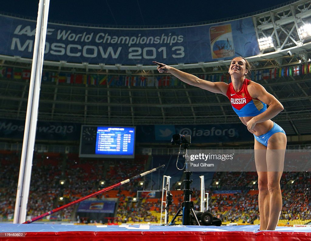 <a gi-track='captionPersonalityLinkClicked' href=/galleries/search?phrase=Elena+Isinbaeva&family=editorial&specificpeople=3230101 ng-click='$event.stopPropagation()'>Elena Isinbaeva</a> of Russia fails at an attempt after winning gold in the Women's pole vault final during Day Four of the 14th IAAF World Athletics Championships Moscow 2013 at Luzhniki Stadium on August 13, 2013 in Moscow, Russia.
