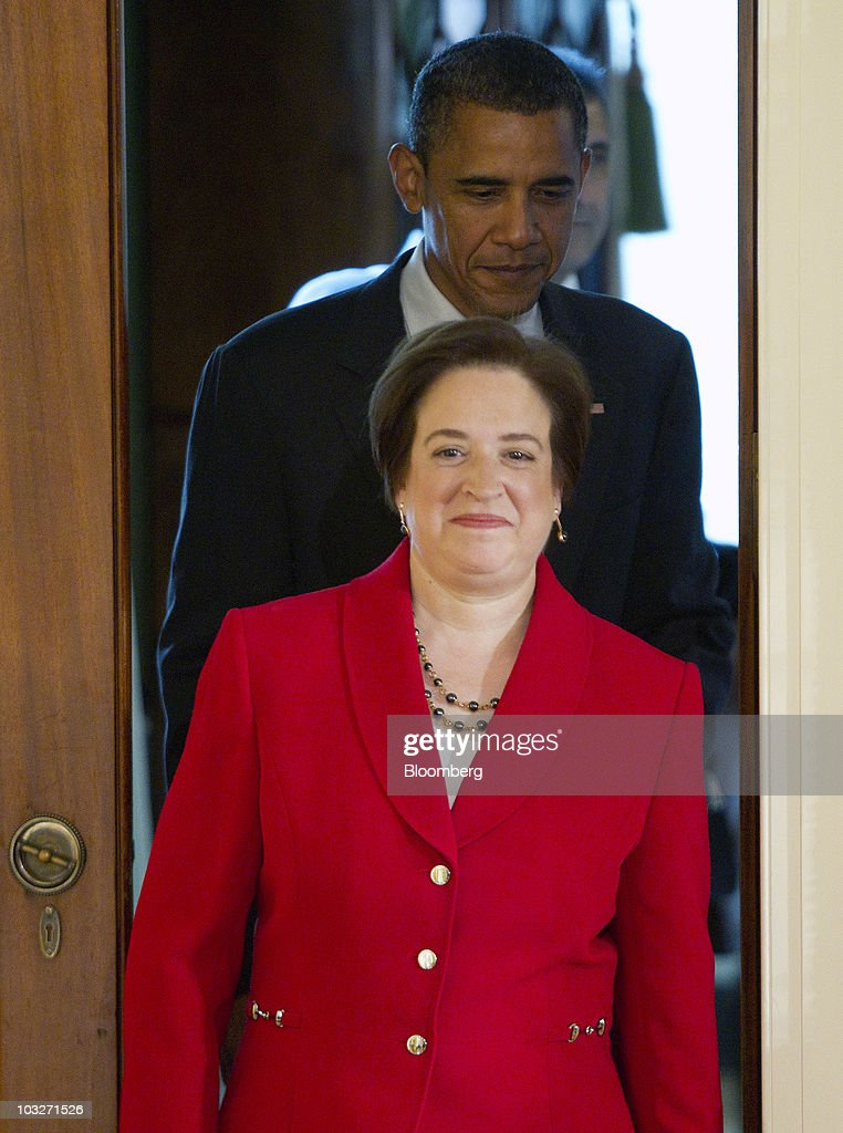 <a gi-track='captionPersonalityLinkClicked' href=/galleries/search?phrase=Elena+Kagan&family=editorial&specificpeople=5704239 ng-click='$event.stopPropagation()'>Elena Kagan</a>, confirmed associate justice of the U.S. Supreme Court, walks out with U.S. President <a gi-track='captionPersonalityLinkClicked' href=/galleries/search?phrase=Barack+Obama&family=editorial&specificpeople=203260 ng-click='$event.stopPropagation()'>Barack Obama</a> during a reception in the East Room of the White House in Washington, D.C., U.S., on Friday, Aug. 6, 2010. Kagan will become the nation's 112th justice tomorrow at a U.S. Supreme Court ceremony after the Senate gave President <a gi-track='captionPersonalityLinkClicked' href=/galleries/search?phrase=Barack+Obama&family=editorial&specificpeople=203260 ng-click='$event.stopPropagation()'>Barack Obama</a> his second appointment to the high court in two years. Photographer: Andrew Harrer/Bloomberg via Getty Images