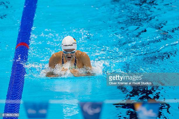 Elena Krawzow of PSC Berlin eV/Berlin [paralympic classification S13] takes a deepth breath during her breast lane on Day 3 of the Rio 2016...