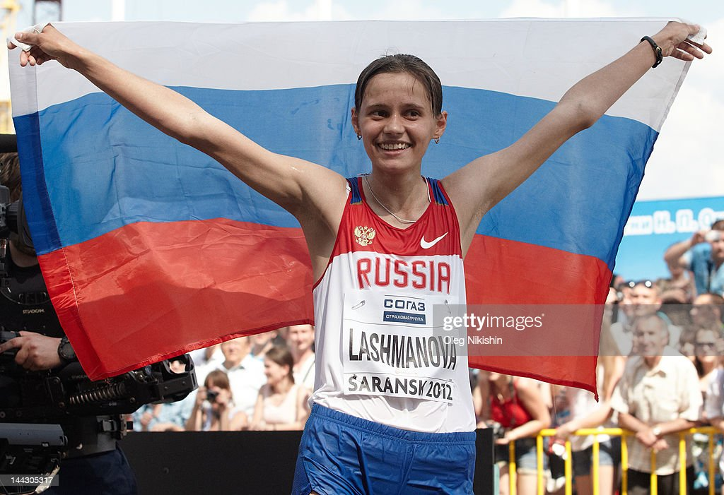 Elena Lashmanova of Russia on the finish during the awarding of the women's 20 km IAAF World Race Walking Cup 2012 on May 13, 2012 in Saransk, Russia.