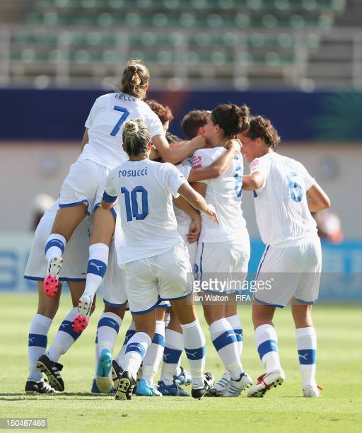 Elena Linari of Italy celebrates scoring the first goal during the FIFA U20 Women's World Cup Japan 2012 Group B match between Brazil v Italy at...