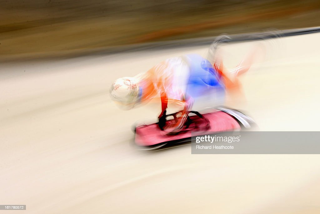 Elena Nikitina of Russia launches herself down the track during the Women's Skeleton Viessman FIBT Bob & Skeleton World Cup at the Sanki Sliding Center in Krasnya Polyana on February 16, 2013 in Sochi, Russia. Sochi is preparing for the 2014 Winter Olympics with test events across the venues.