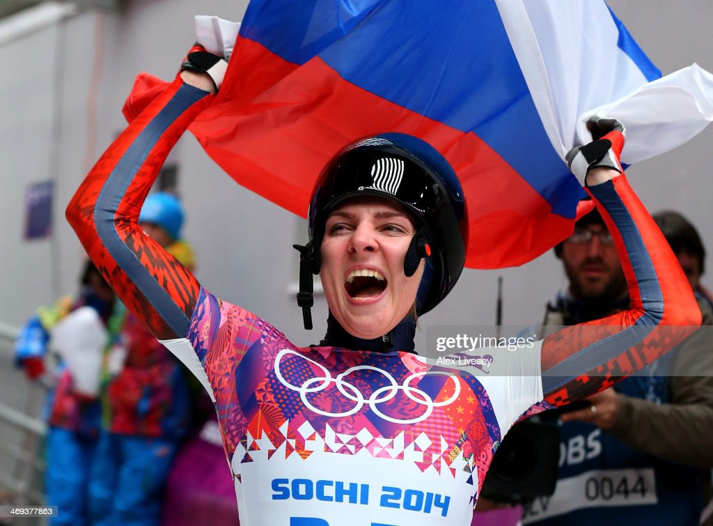 <a gi-track='captionPersonalityLinkClicked' href=/galleries/search?phrase=Elena+Nikitina&family=editorial&specificpeople=10175890 ng-click='$event.stopPropagation()'>Elena Nikitina</a> of Russia reacts after competing a run during the Women's Skeleton on Day 7 of the Sochi 2014 Winter Olympics at Sliding Center Sanki on February 14, 2014 in Sochi, Russia.