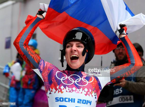 Elena Nikitina of Russia reacts after competing a run during the Women's Skeleton on Day 7 of the Sochi 2014 Winter Olympics at Sliding Center Sanki...