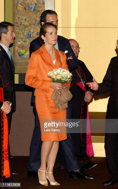 Elena of Spain and husband Jaime de Marichalar during Royal Opening for 'Inmaculada' Religious Painting Exhibition at La Almudena Cathedral in Madrid...