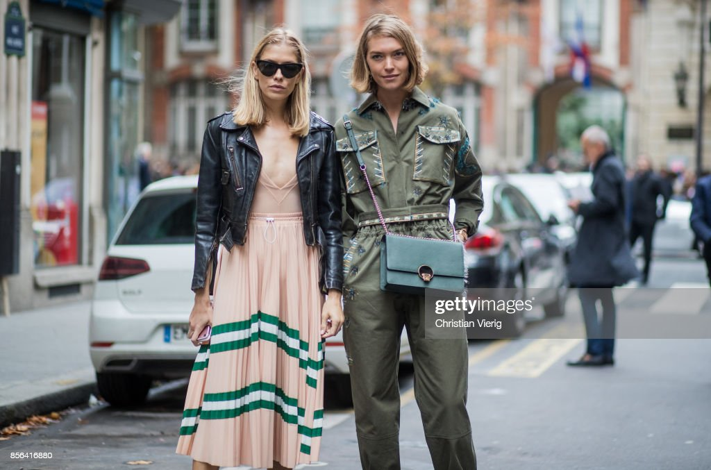 Elena Perminova and Arizona Muse seen outside Valentino during Paris Fashion Week Spring/Summer 2018 on October 1, 2017 in Paris, France.
