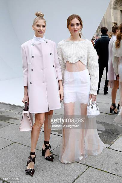 Elena Perminova and Chiara Ferragni attend the Christian Dior show as part of the Paris Fashion Week Womenswear Fall/Winter 2016/2017 on March 4 2016...