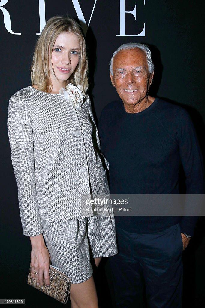Elena Perminova and Giorgio Armani pose Backstage after the Giorgio Armani Prive show as part of Paris Fashion Week HauteCouture Fall/Winter...