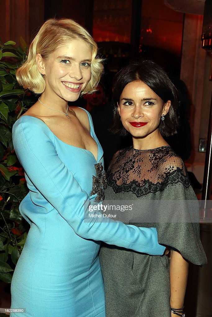 Elena Perminova and Miroslava Duma attend The Pucci Dinner Party At Monsieur Bleu In Paris on September 28, 2013 in Paris, France.