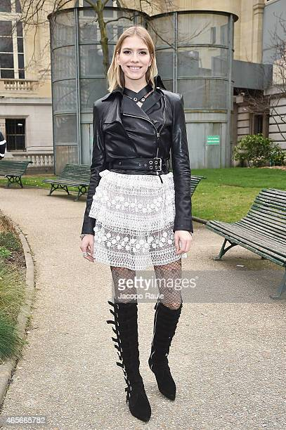 Elena Perminova arrives at Giambattista Valli Fashion Show during Paris Fashion Week Fall Winter 2015/2016 on March 9 2015 in Paris France