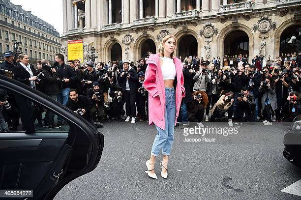 Elena Perminova arrives at Stella McCartney Fashion Show during Paris Fashion Week Fall Winter 2015/2016 on March 9 2015 in Paris France