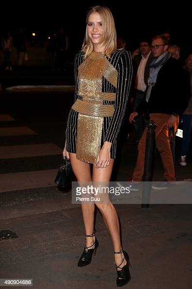 Elena Perminova arrives at the Balmain After Show Party at 'Laperouse' restaurant as part of the Paris Fashion Week Womenswear Spring/Summer 2016 on...