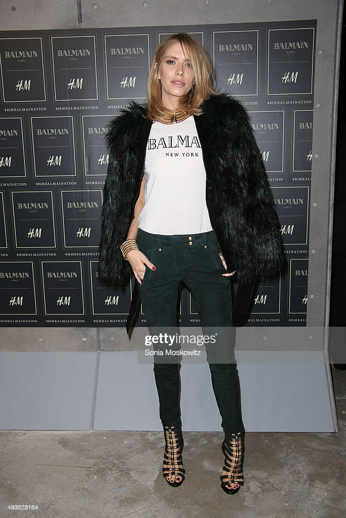 Elena Perminova arrives at the BALMAIN X H&M collection launch event at 23 Wall Street on October 20, 2015 in New York City.