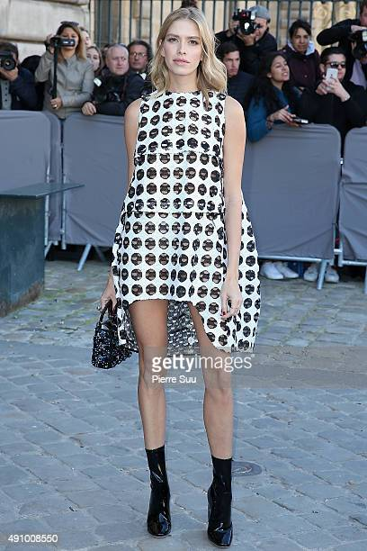 Elena Perminova arrives at the Dior show as part of the Paris Fashion Week Womenswear Spring/Summer 2016 on October 2 2015 in Paris France