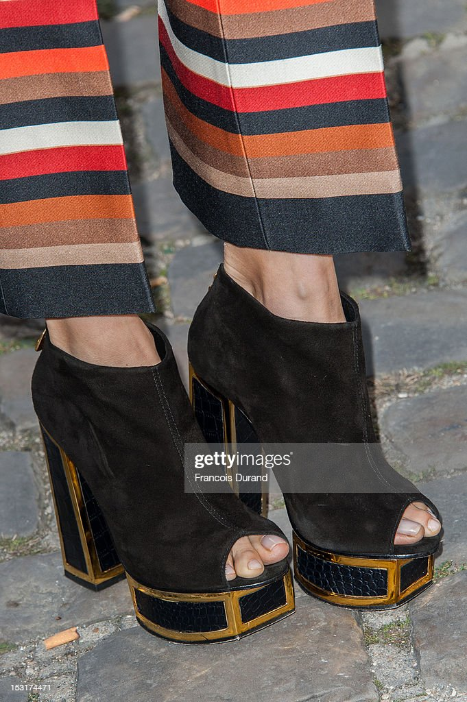Elena Perminova (shoe/boot detail) arrives at the Giambattista Valli Spring / Summer 2013 show as part of Paris Fashion Week on October 1, 2012 in Paris, France.