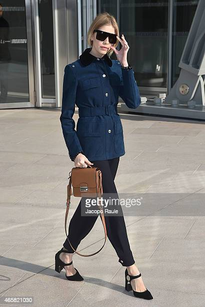 Elena Perminova arrives at the Louis Vuitton show as part of Paris Fashion Week Fall Winter 2015/2016 on March 11 2015 in Paris France